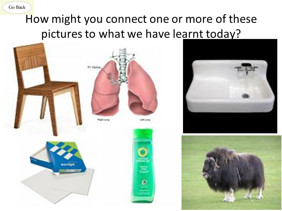 How might you connect one or more of these pictures to what we have learnt today?