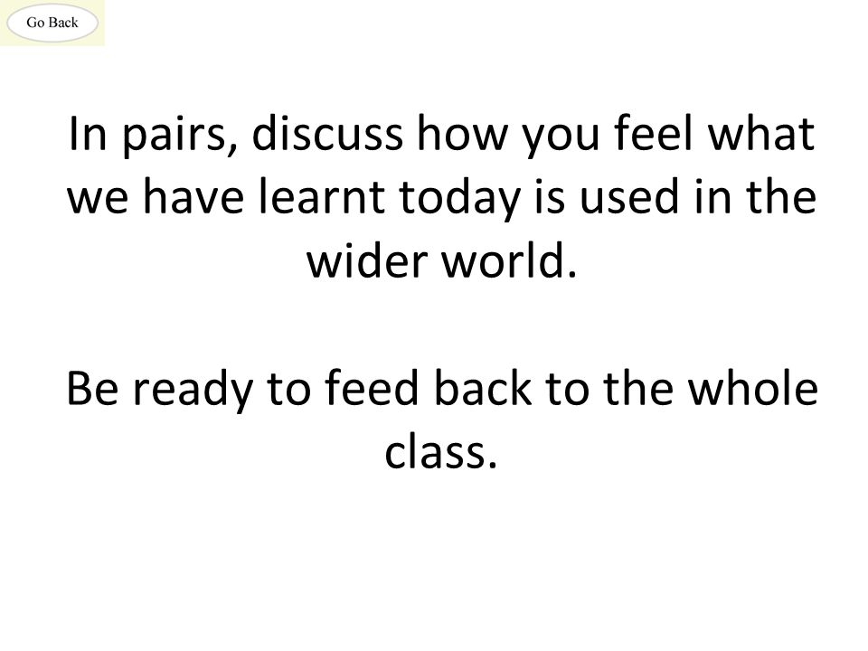 In pairs, discuss how you feel what we have learnt today is used in the wider world. Be ready to feed back to the whole class.