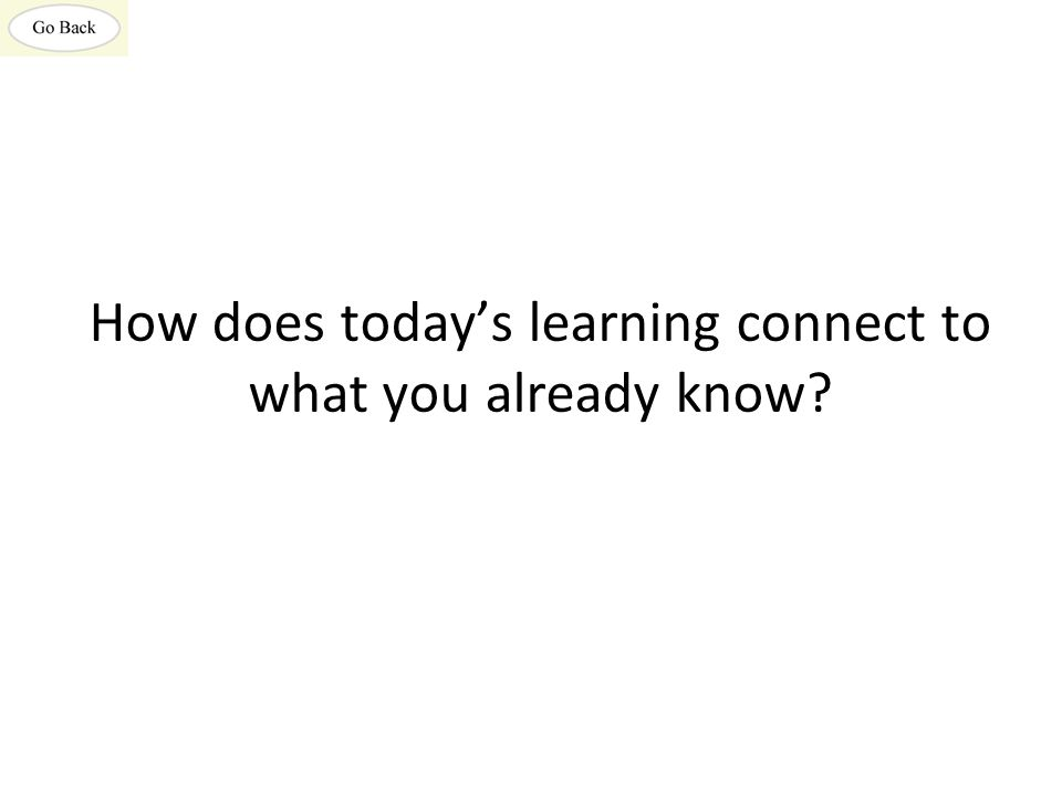 How does today's learning connect to what you already know?