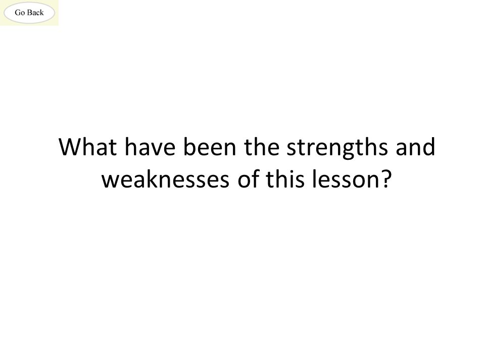 What have been the strengths and weaknesses of this lesson?