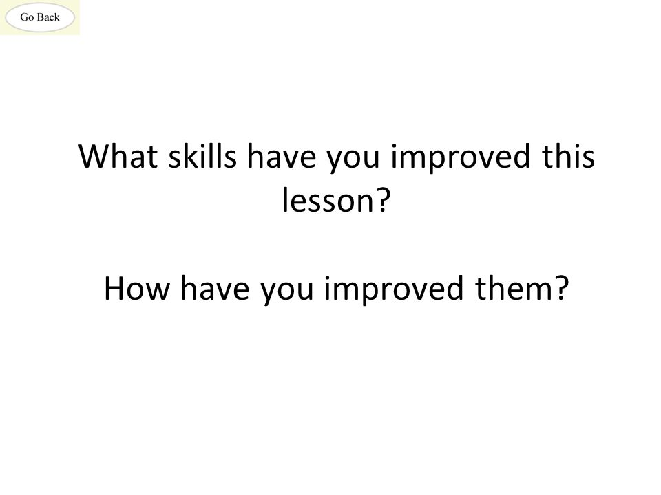 What skills have you improved this lesson? How have you improved them?