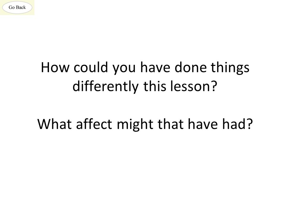 How could you have done things differently this lesson? What affect might that have had?