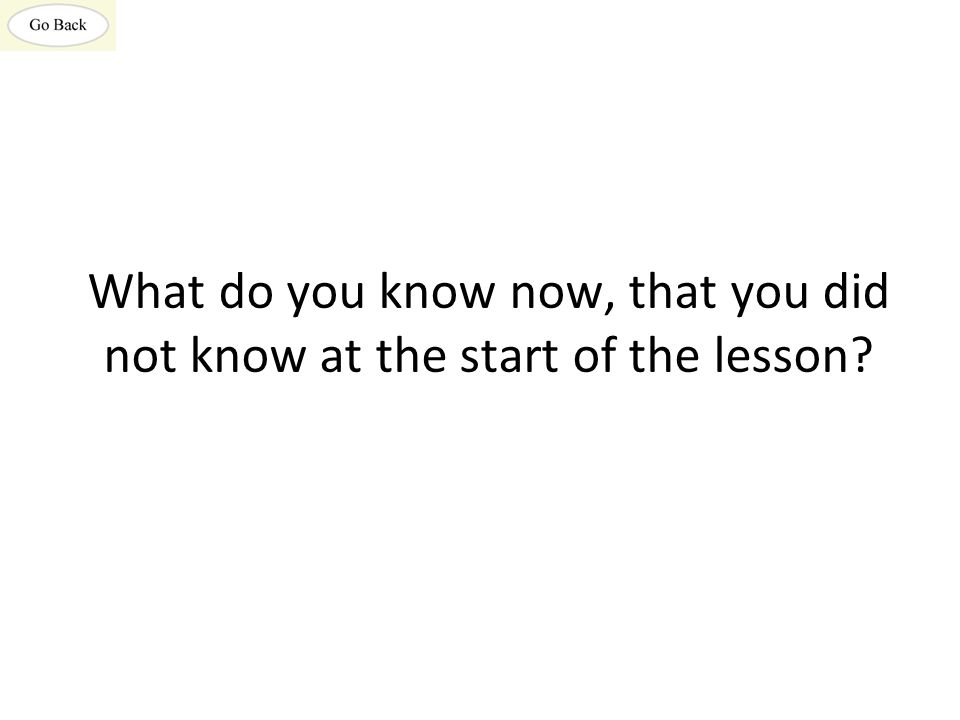 What do you know now, that you did not know at the start of the lesson?