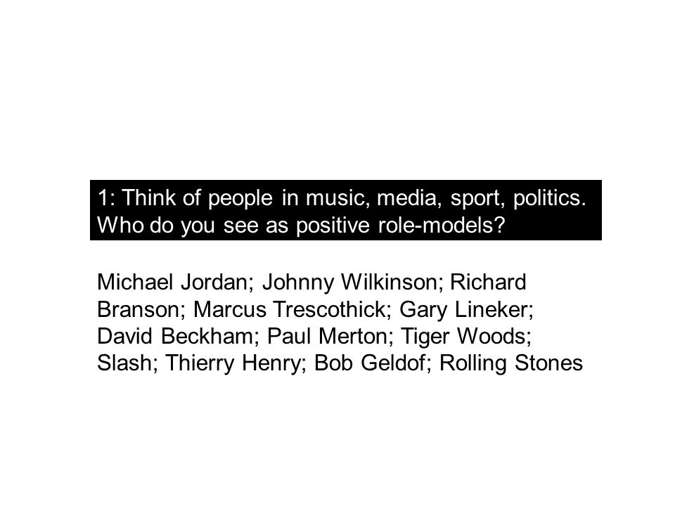 1: Think of people in music, media, sport, politics.