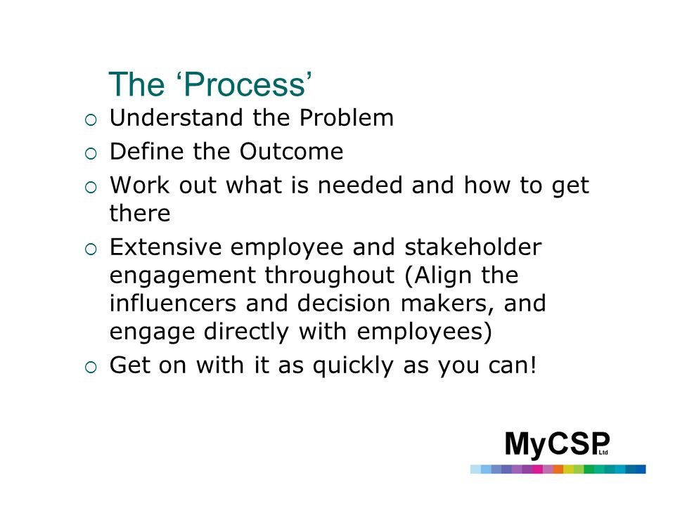 The 'Process'  Understand the Problem  Define the Outcome  Work out what is needed and how to get there  Extensive employee and stakeholder engagement throughout (Align the influencers and decision makers, and engage directly with employees)  Get on with it as quickly as you can!