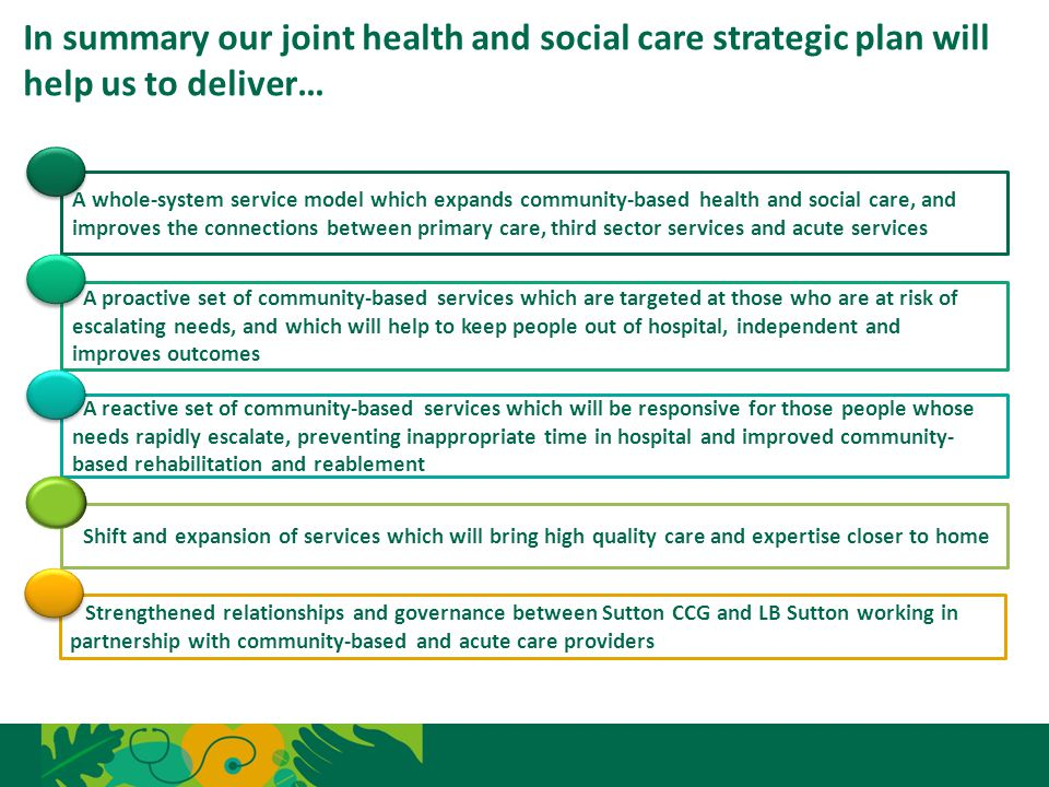 In summary our joint health and social care strategic plan will help us to deliver… 17 A whole-system service model which expands community-based heal