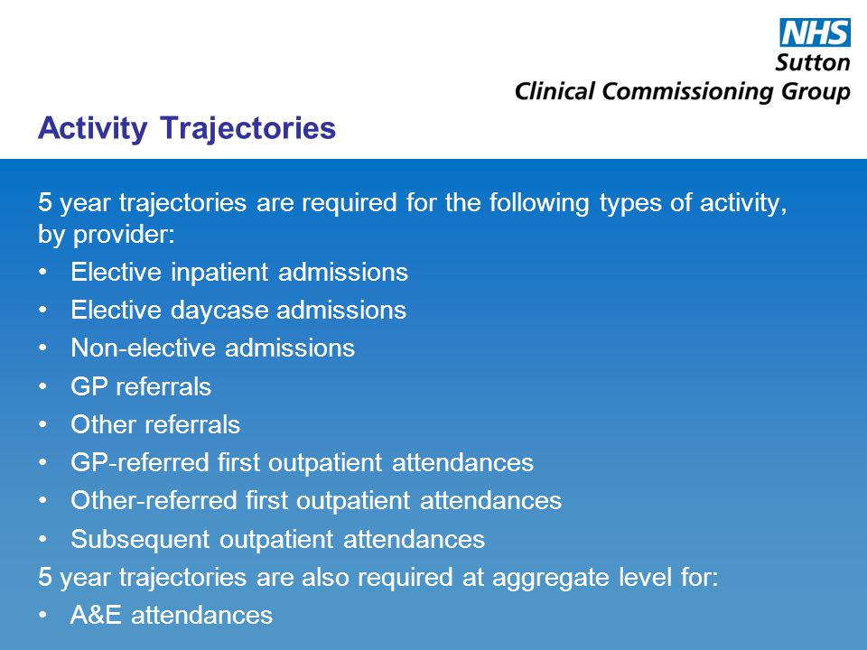 Activity Trajectories 5 year trajectories are required for the following types of activity, by provider: Elective inpatient admissions Elective daycas