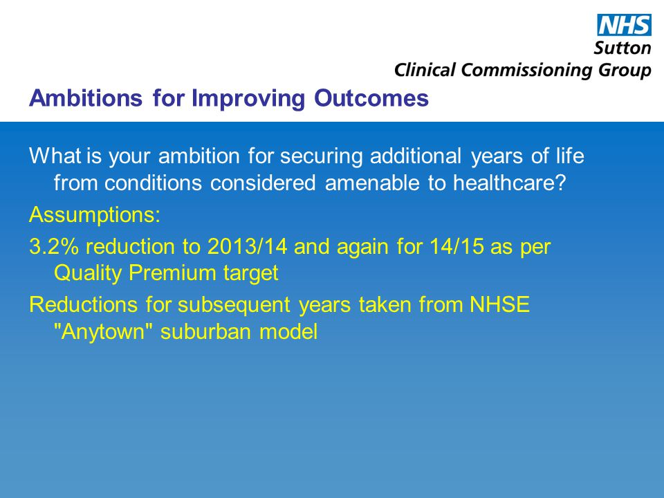 Ambitions for Improving Outcomes What is your ambition for securing additional years of life from conditions considered amenable to healthcare.