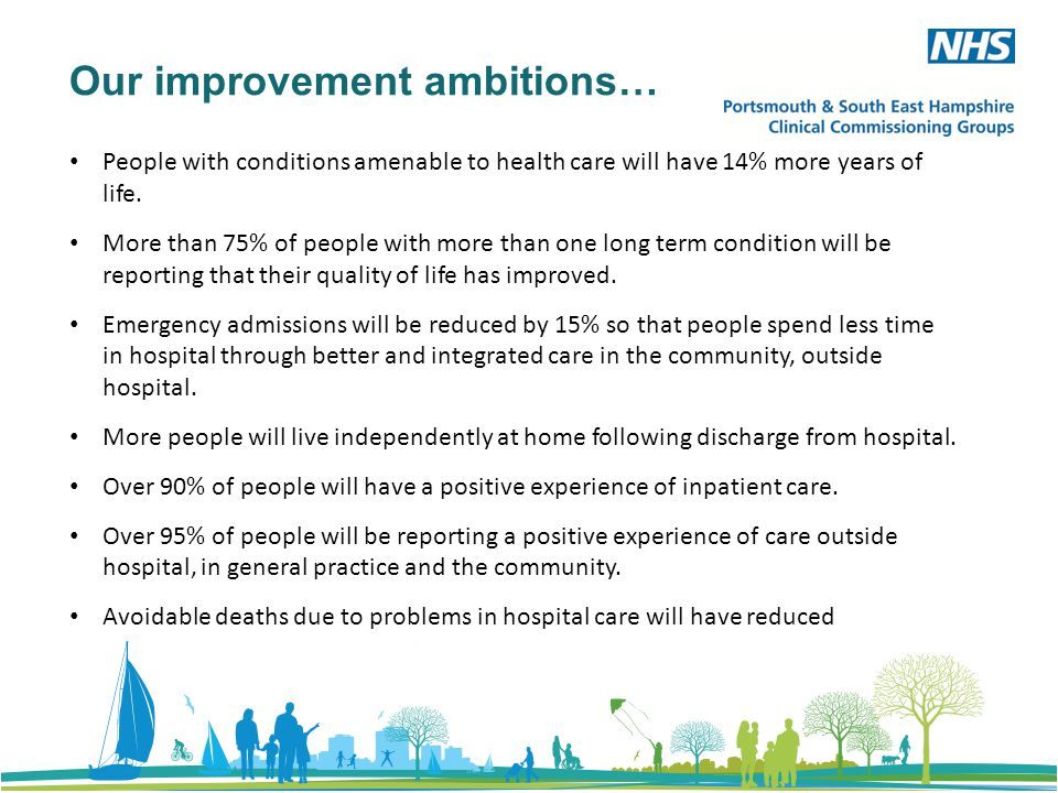 Our improvement ambitions… People with conditions amenable to health care will have 14% more years of life.