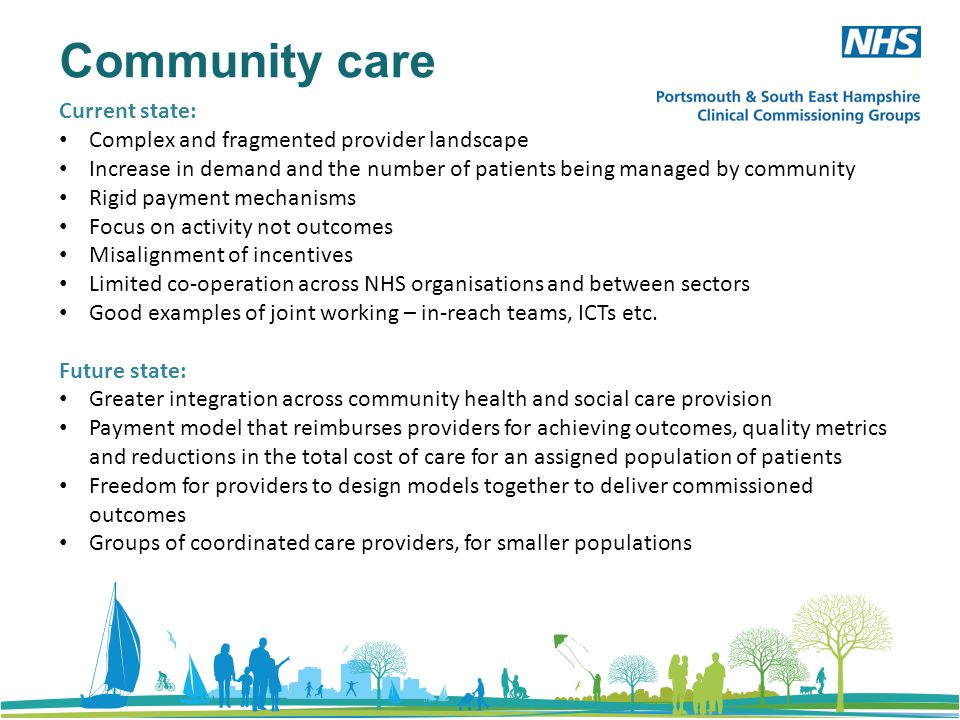 Community care Current state: Complex and fragmented provider landscape Increase in demand and the number of patients being managed by community Rigid payment mechanisms Focus on activity not outcomes Misalignment of incentives Limited co-operation across NHS organisations and between sectors Good examples of joint working – in-reach teams, ICTs etc.