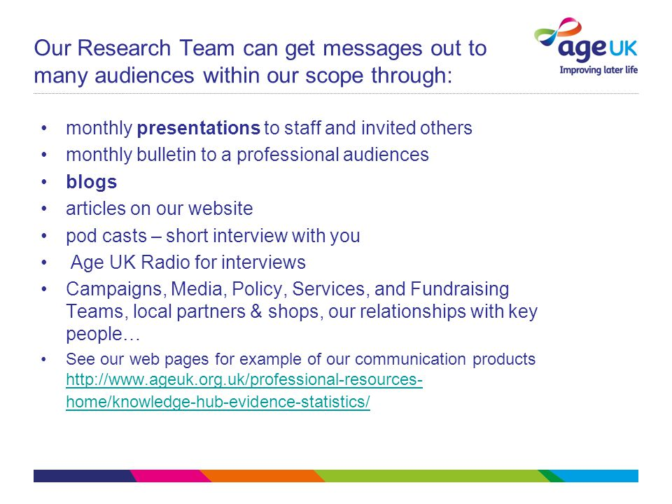 Our Research Team can get messages out to many audiences within our scope through: monthly presentations to staff and invited others monthly bulletin to a professional audiences blogs articles on our website pod casts – short interview with you Age UK Radio for interviews Campaigns, Media, Policy, Services, and Fundraising Teams, local partners & shops, our relationships with key people… See our web pages for example of our communication products http://www.ageuk.org.uk/professional-resources- home/knowledge-hub-evidence-statistics/ http://www.ageuk.org.uk/professional-resources- home/knowledge-hub-evidence-statistics/
