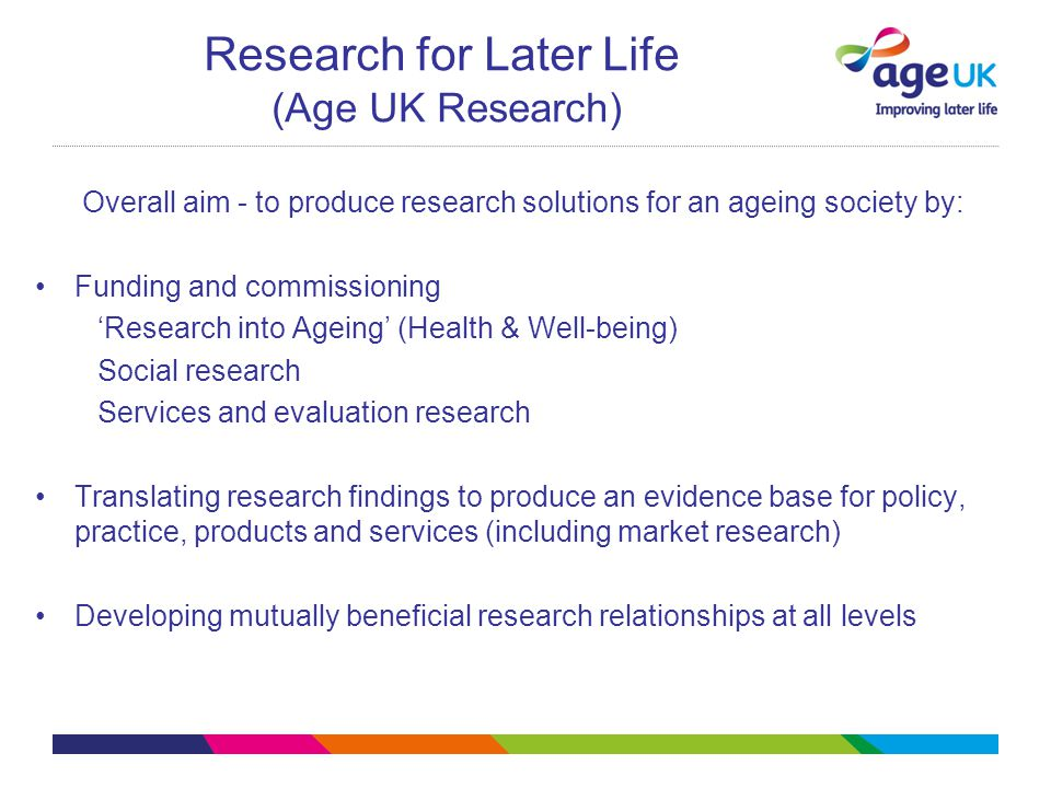 Research for Later Life (Age UK Research) Overall aim - to produce research solutions for an ageing society by: Funding and commissioning 'Research into Ageing' (Health & Well-being) Social research Services and evaluation research Translating research findings to produce an evidence base for policy, practice, products and services (including market research) Developing mutually beneficial research relationships at all levels