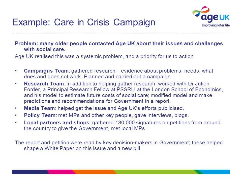 Example: Care in Crisis Campaign Problem: many older people contacted Age UK about their issues and challenges with social care.