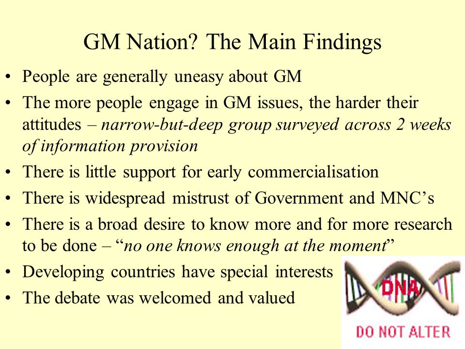 Comparison to Your Views From a class of 100 there is 1 GM Nation respondent!.