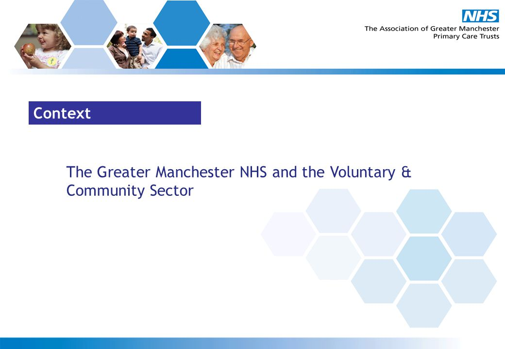 Context The Greater Manchester NHS and the Voluntary & Community Sector