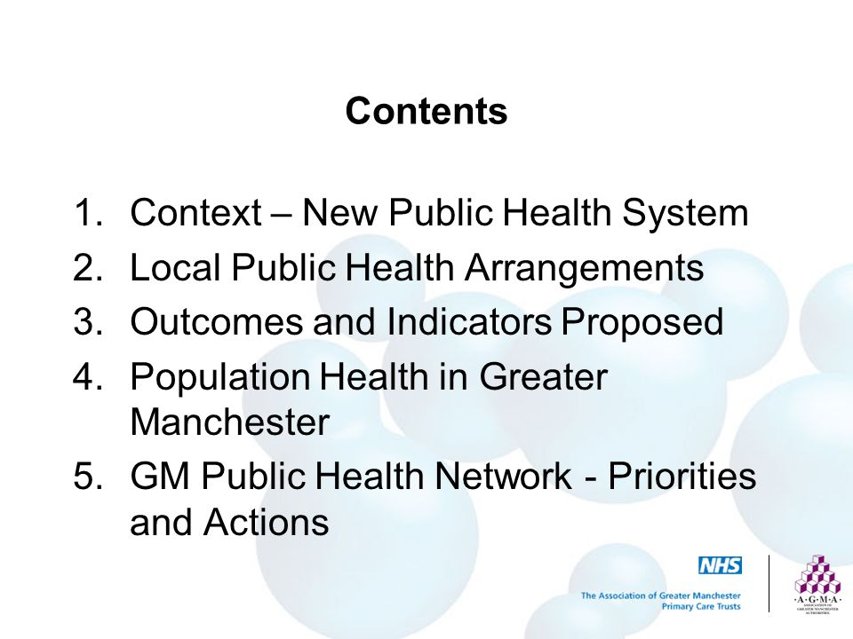Contents 1.Context – New Public Health System 2.Local Public Health Arrangements 3.Outcomes and Indicators Proposed 4.Population Health in Greater Manchester 5.GM Public Health Network - Priorities and Actions