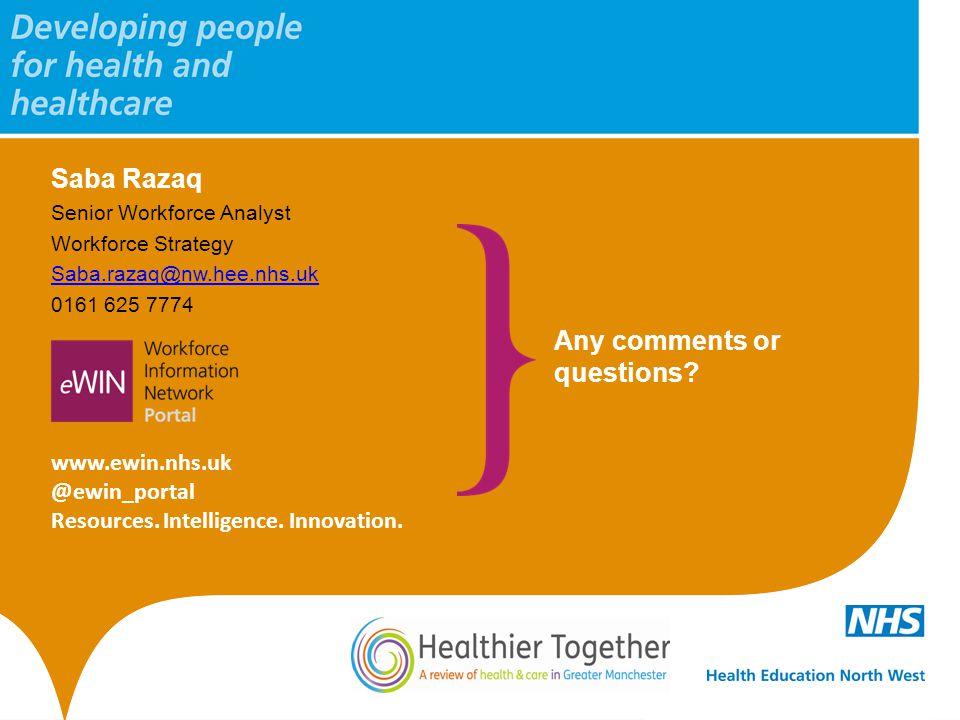 Saba Razaq Senior Workforce Analyst Workforce Strategy Saba.razaq@nw.hee.nhs.uk 0161 625 7774 www.ewin.nhs.uk @ewin_portal Resources. Intelligence. In