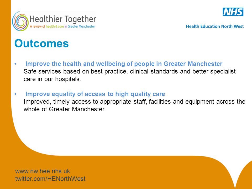 www.nw.hee.nhs.uk twitter.com/HENorthWest Outcomes Improve the health and wellbeing of people in Greater Manchester Safe services based on best practice, clinical standards and better specialist care in our hospitals.