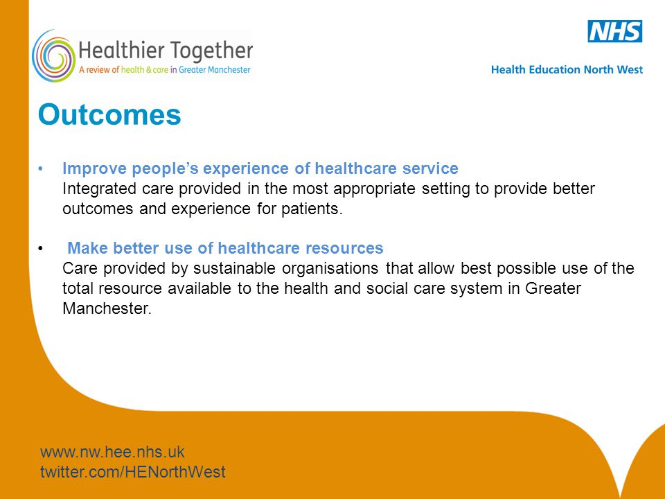 www.nw.hee.nhs.uk twitter.com/HENorthWest Outcomes Improve people's experience of healthcare service Integrated care provided in the most appropriate setting to provide better outcomes and experience for patients.