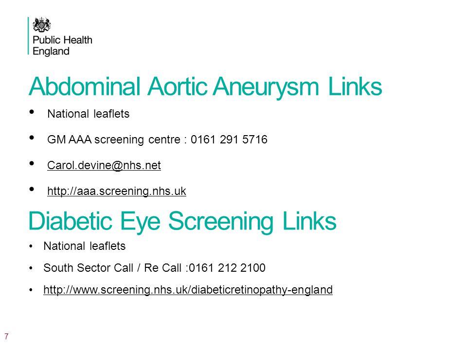 Abdominal Aortic Aneurysm Links National leaflets GM AAA screening centre : 0161 291 5716 Carol.devine@nhs.net http://aaa.screening.nhs.uk National leaflets South Sector Call / Re Call :0161 212 2100 http://www.screening.nhs.uk/diabeticretinopathy-england 7 Diabetic Eye Screening Links