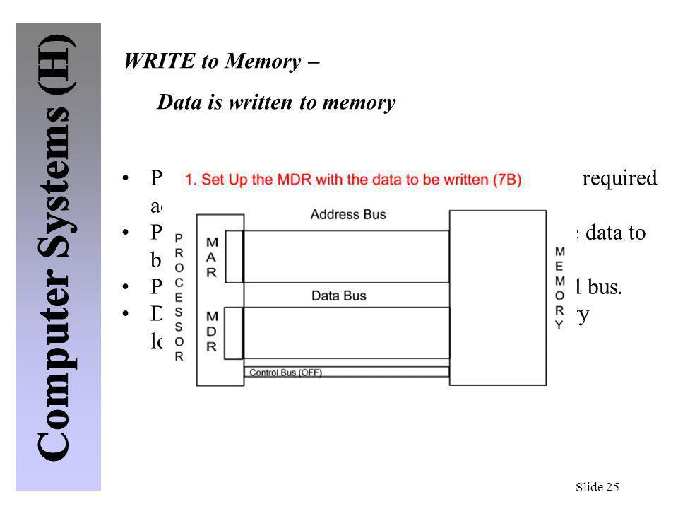 Slide 25 Processor (CPU) sets up Address lines with the required address (location) Processor (CPU) sets up the Data lines with the data to be written