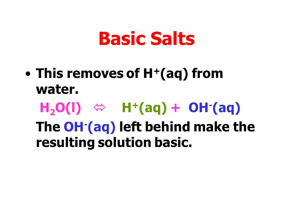 Basic Salts This removes of H + (aq) from water. H 2 O(l)  H + (aq) + OH - (aq)