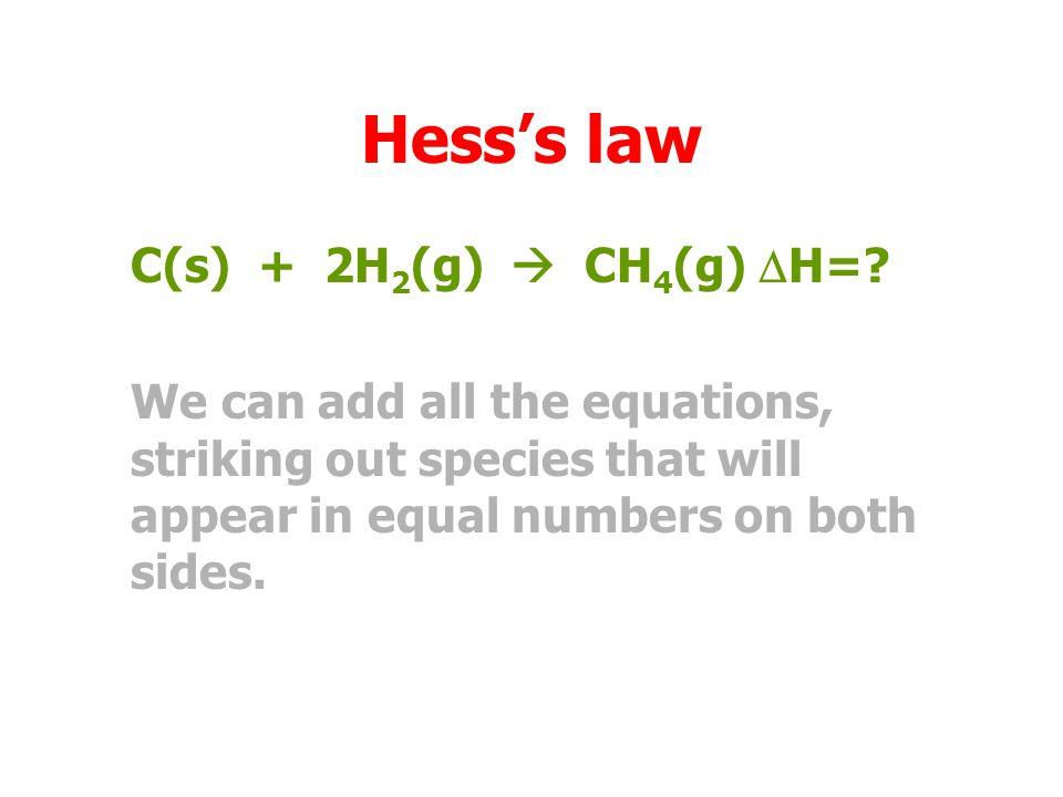 Hess's law C(s) + 2H 2 (g)  CH 4 (g)  H=.