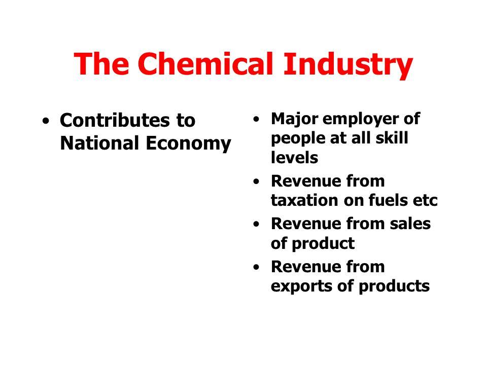The Chemical Industry Quality of life Fuels (eg petrol for cars) Plastics (Polythene etc) Agrochemicals (Fertilisers, pesticides etc) Alloys (Inc.