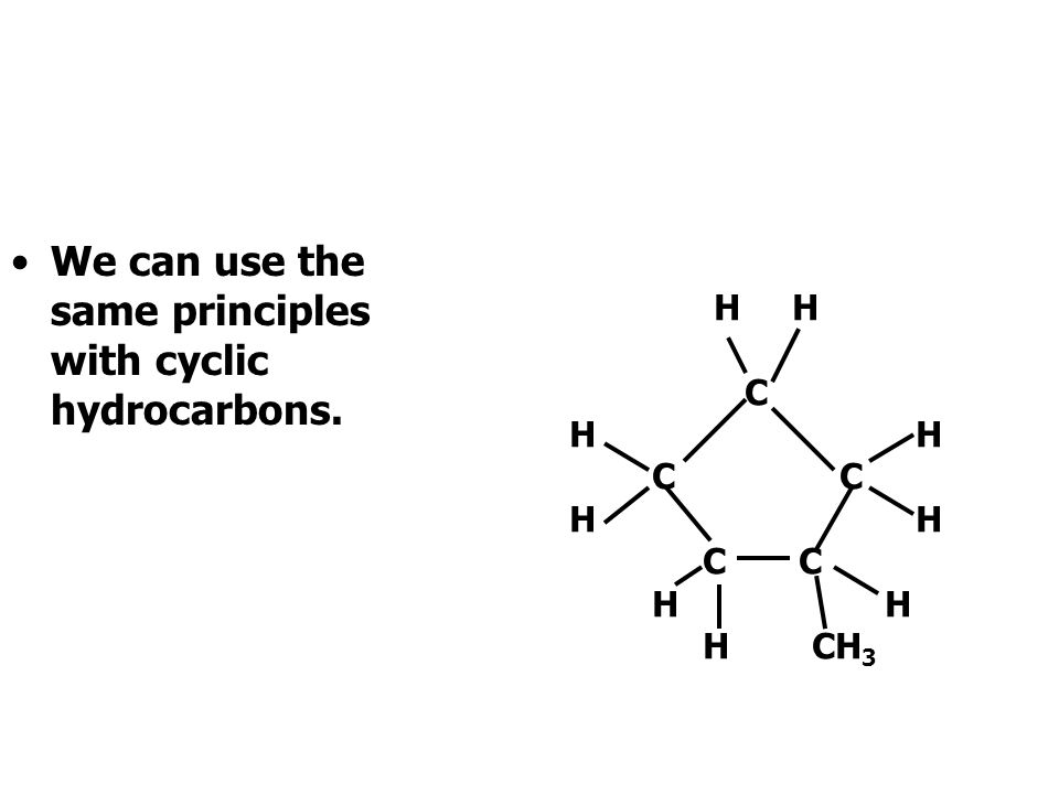 Identifying the side chains gives us the full name: 5,5 dimethy 4 ethyl hex-2-ene. H H H H CH 3 H H C C C C C C H H C 2 H 5 CH 3 H 123456
