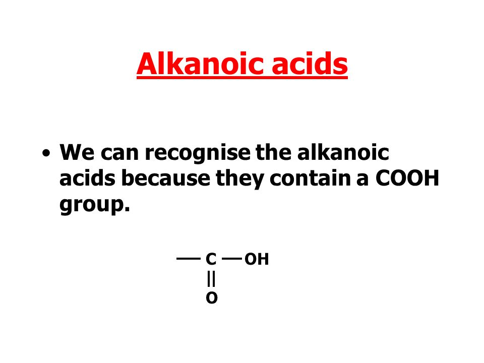 Alkanoic acids The alkanoic acids form another homologous series. Carboxylic acids are used in a variety of ways.