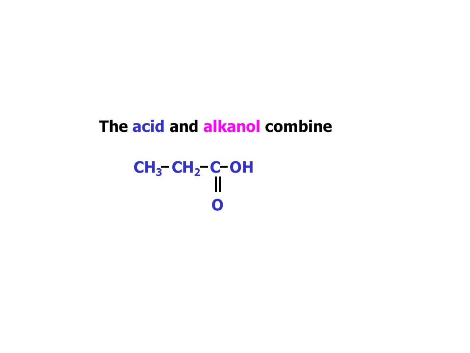 Esters An ester can be named given the names of the parent alkanol and alkanoic acid. The name also tells us the alkanoic acid and alkanol that are ma