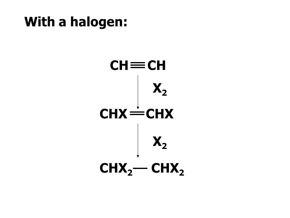With hydrogen: CH CH 2 CH 3 H2H2 H2H2