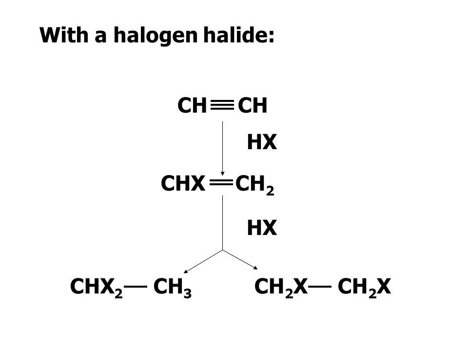 With a halogen: CH CHX CHX 2 X2X2 X2X2