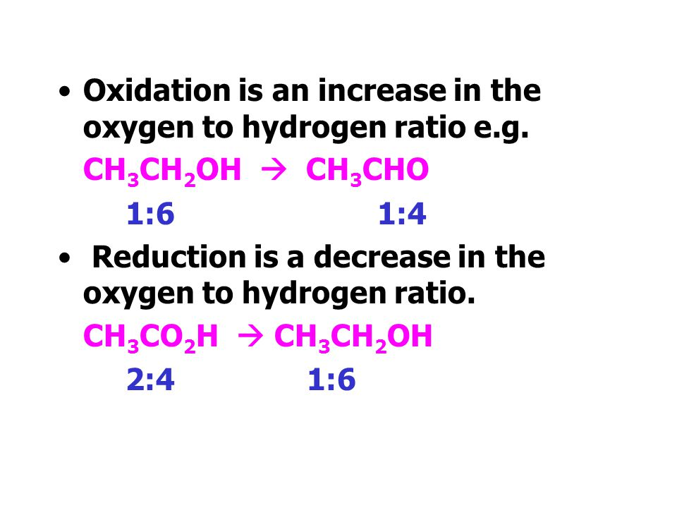Oxidation and Reduction Oxidation and reduction can be described in terms of loss or gain of electrons. In organic chemistry it is more useful to desc