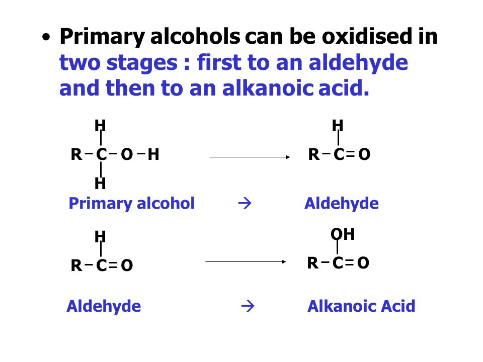 Primary alcohols can be oxidised in two stages : first to an aldehyde H R C O H H R C O Primary alcohol  Aldehyde