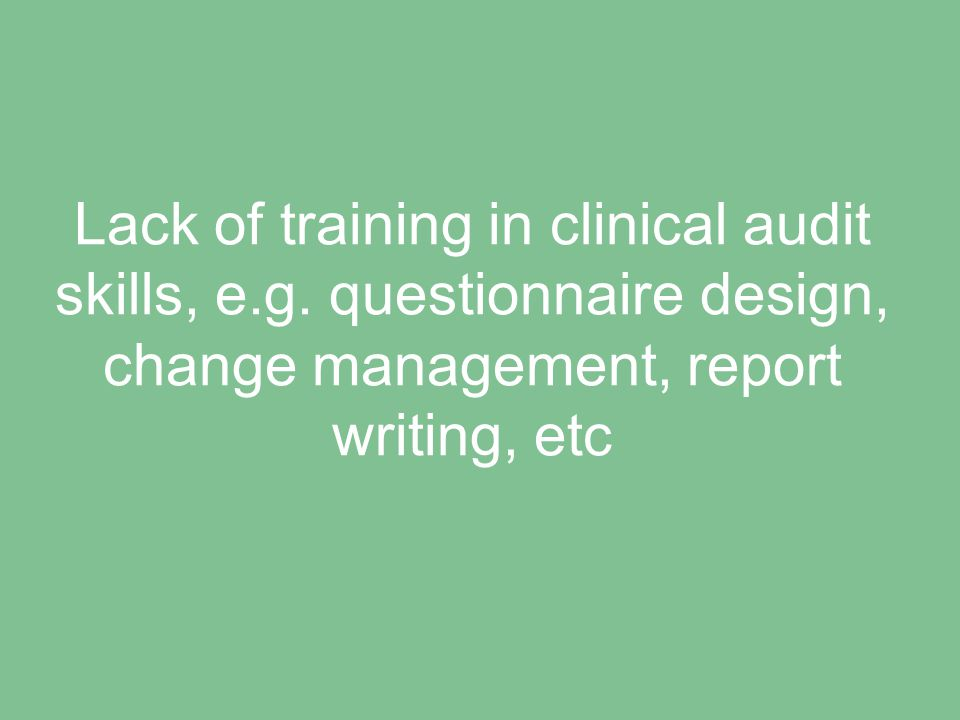 Confusion over how clinical audit differs from research, service evaluation, etc