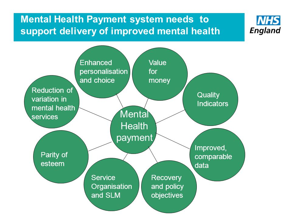 Mental Health Payment by Results Mental Health Payment system needs to support delivery of improved mental health Mental Health payment Quality Indicators Reduction of variation in mental health services Service Organisation and SLM Recovery and policy objectives Enhanced personalisation and choice Value for money Parity of esteem Improved, comparable data