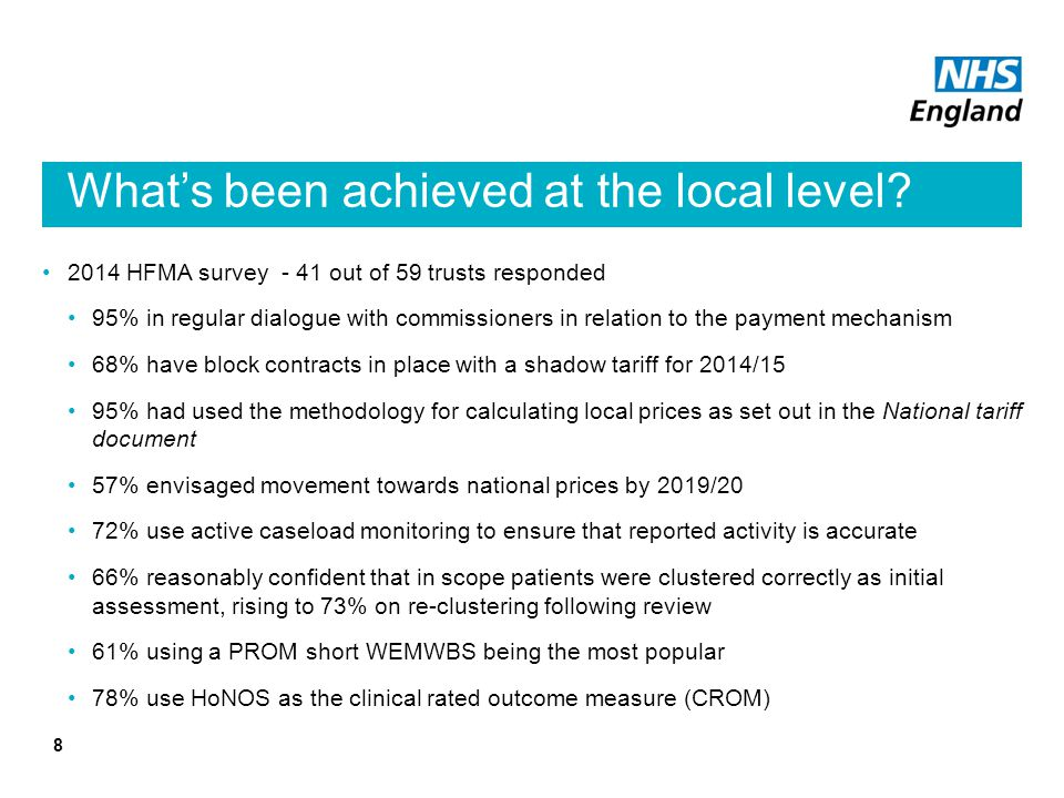 What's been achieved at the local level.