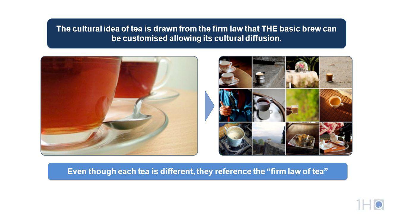 The cultural idea of tea is drawn from the firm law that THE basic brew can be customised allowing its cultural diffusion.