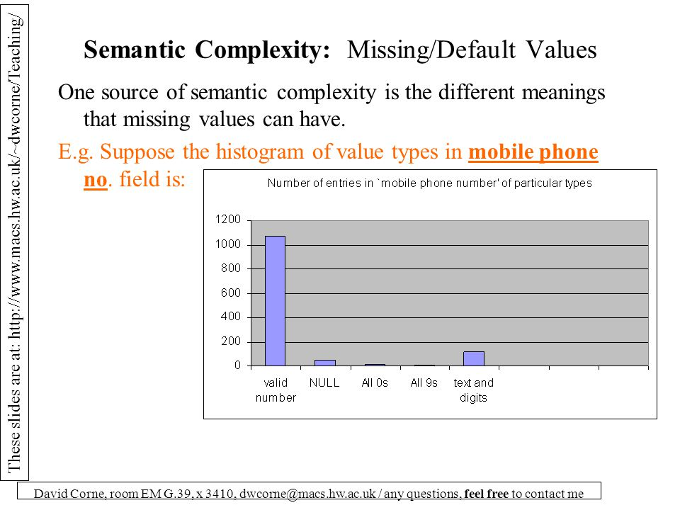 These slides are at: http://www.macs.hw.ac.uk/~dwcorne/Teaching/ David Corne, room EM G.39, x 3410, dwcorne@macs.hw.ac.uk / any questions, feel free to contact me Semantic Complexity: Missing/Default Values One source of semantic complexity is the different meanings that missing values can have.