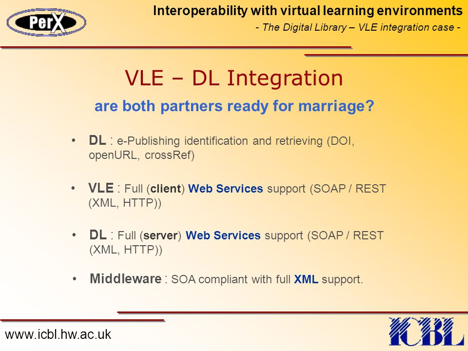 www.icbl.hw.ac.uk Interoperability with virtual learning environments - The Digital Library – VLE integration case - VLE : Full (client) Web Services