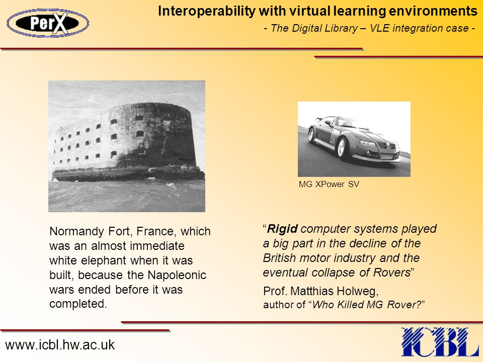 "www.icbl.hw.ac.uk Interoperability with virtual learning environments - The Digital Library – VLE integration case - ""Rigid computer systems played a"