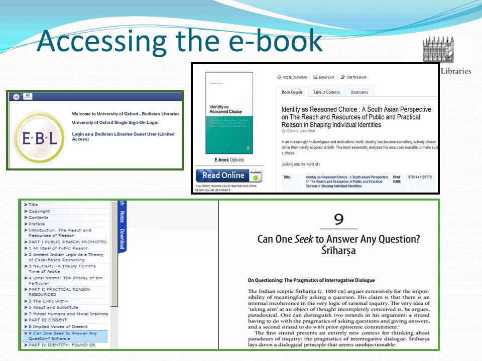 Accessing the e-book