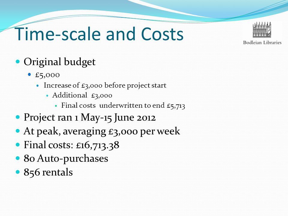 Time-scale and Costs Original budget £5,000 Increase of £3,000 before project start Additional £3,000 Final costs underwritten to end £5,713 Project r