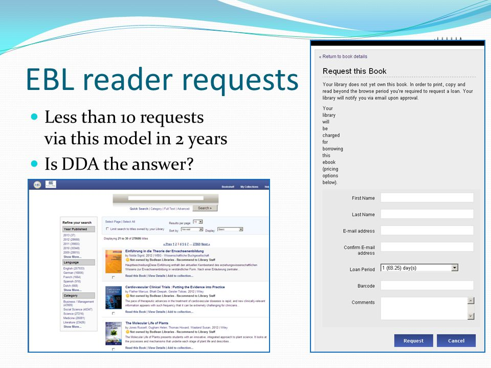 EBL reader requests Less than 10 requests via this model in 2 years Is DDA the answer