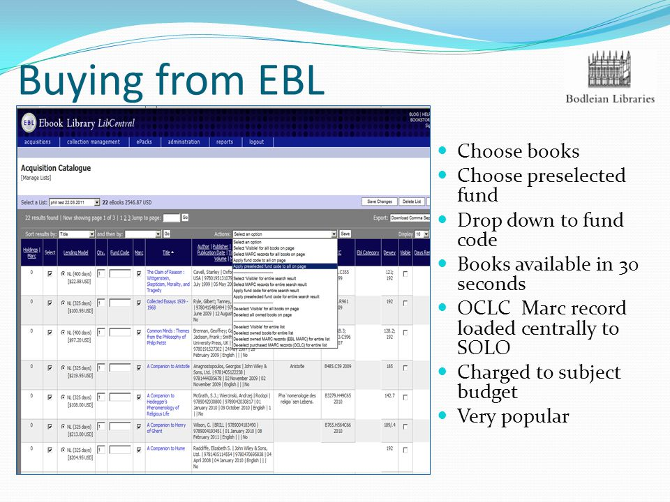 Buying from EBL Choose books Choose preselected fund Drop down to fund code Books available in 30 seconds OCLC Marc record loaded centrally to SOLO Charged to subject budget Very popular