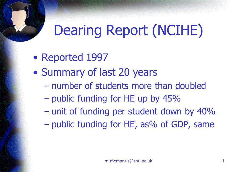 m.mcmanus@shu.ac.uk4 Dearing Report (NCIHE) Reported 1997 Summary of last 20 years –number of students more than doubled –public funding for HE up by