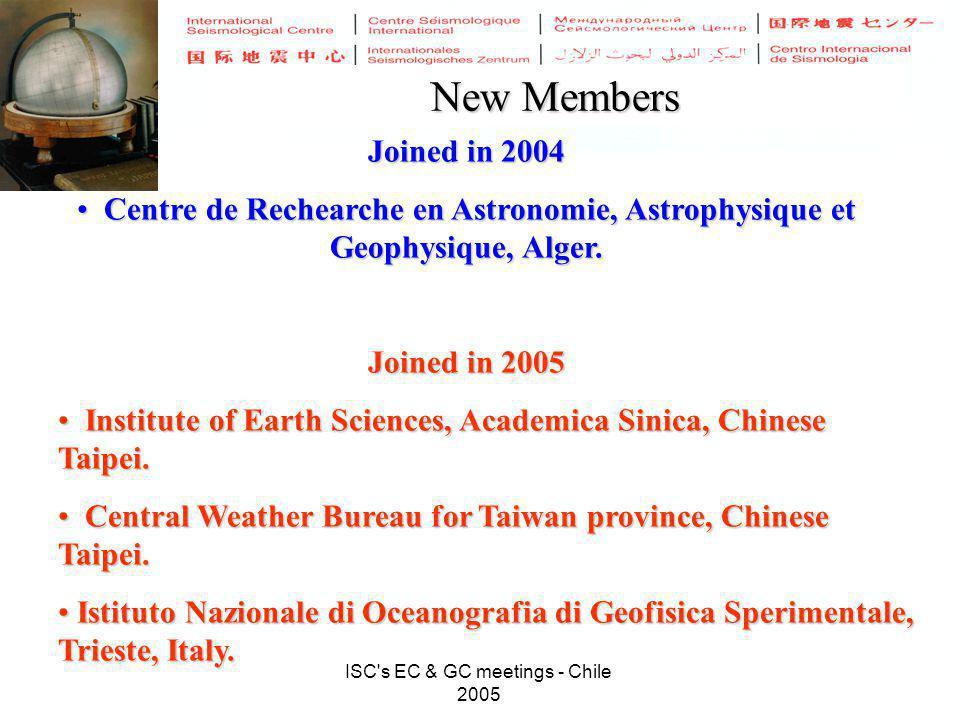 ISC s EC & GC meetings - Chile 2005 New Members Joined in 2004 Centre de Rechearche en Astronomie, Astrophysique et Geophysique, Alger.