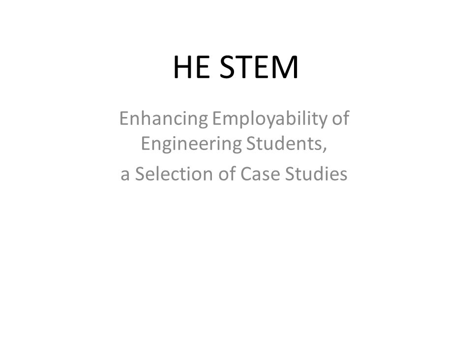  The HEFCE funded National HE STEM Programme ran from 2009 to 2012.