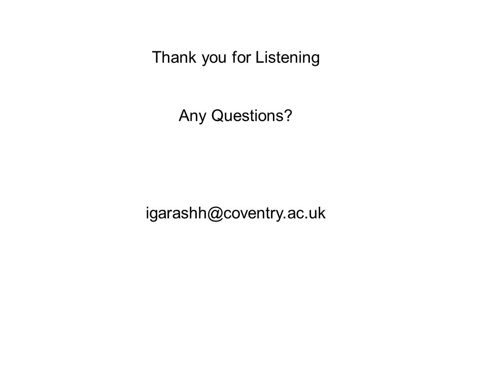 Thank you for Listening Any Questions? igarashh@coventry.ac.uk